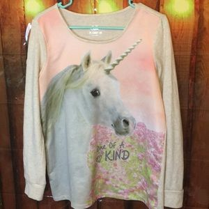 Justice long sleeve Unicorn Shirt and pencil case